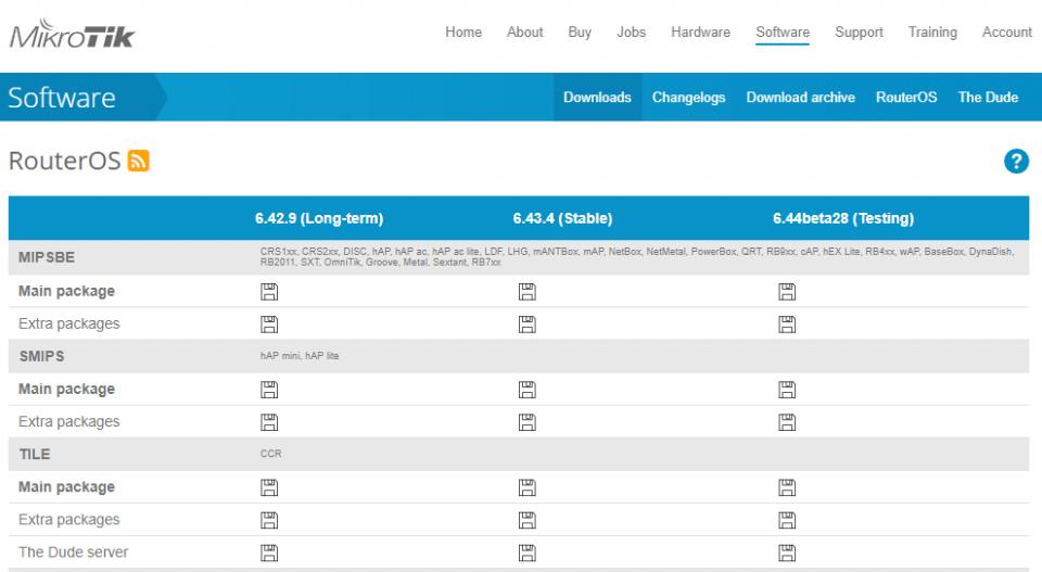 دانلود فایل به روز رسانی سیستم عامل میکروتیک