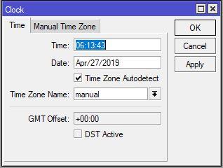 پنجره Clock جهت تنظیم ساعت و تاریخ میکروتیک