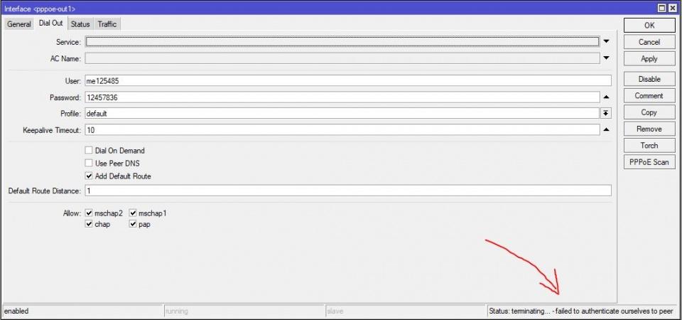 حل مشکل عدم اتصال pppoe client در میکروتیک و مشاهده ارور terminating... failed to autenticate ourselves to peer