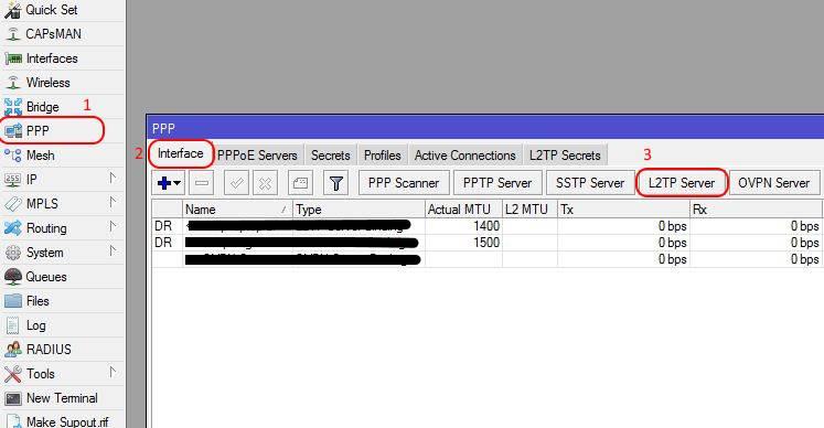 آموزش راه اندازی تانل L2TP در میکروتیک - منوی PPP گزینه L2TP SERVER