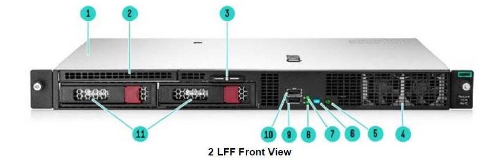 نمای رو به رویی سرور HP DL20 G10 مدل 2 LFF