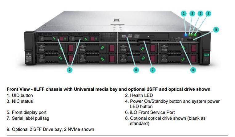 سرور dl380 g10 اچ پی با پشتیبانی از هارد دیسک های LFF + دو عدد sff