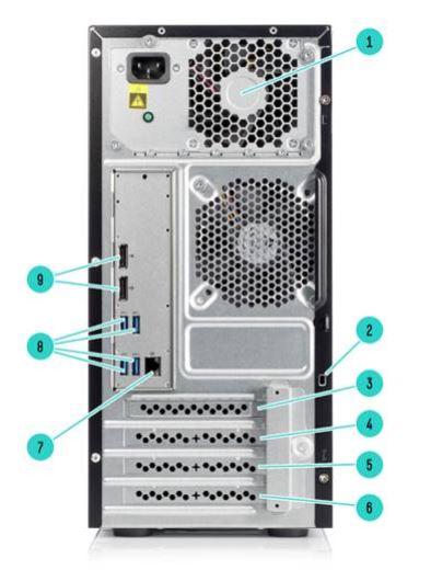 نمای پشت سرور ML10 G9 اچ پی